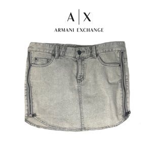 ARMANI Exchange Light Wash Zipper Denim Mini Skirt